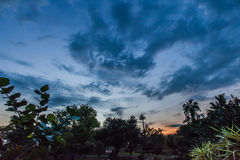 Blue sunset sky landscape background natural; outdoor evening scene feel dramatic Stock Photos