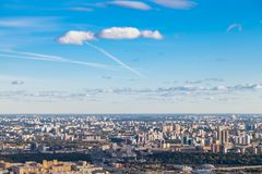 Blue sunset sky over of south of Moscow city stock image