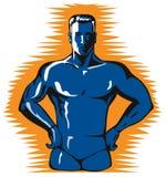 Blue super hero. Retro style art of a superhero stock illustration