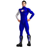 Blue Super Hero. Mighty Super Hero saving the world with Clipping Path Stock Images
