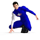 Blue Super Hero saving the world Royalty Free Stock Photo