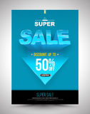 Blue super sale poster discount up to 50 percent with arrow. Royalty Free Stock Image