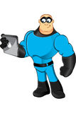 Blue Superhero - Holding Tablet Stock Images