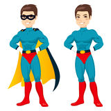 Blue Superhero Man. Attractive young man with blue superhero outfit ready to save the world for Halloween party Stock Photo