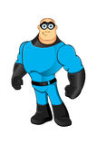 Blue Superhero - Standing Macho Stock Photo