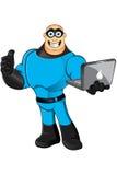 Blue Superhero - Thumb Up & Laptop Stock Photos