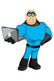 Blue Superhero - Unsure & Laptop Stock Photo