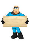 Blue Superhero - Wooden Board Stock Images