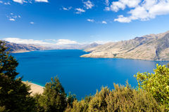 Blue surface of Lake Hawea, Central Otago, NZ Royalty Free Stock Photography