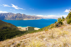 Blue surface of Lake Hawea, Central Otago, NZ Stock Images