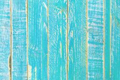 Blue surface of the old semidecayed wall covered with boards Royalty Free Stock Photos