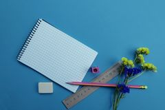 On the blue surface of the table are stationery. The concept of education royalty free stock photos