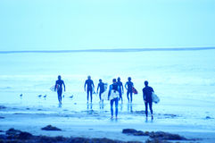 Blue Surfers 3. Soft focus blue toned images of surfers. Large group of surfers walking down the beach Stock Photo