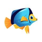 Blue surgeon fish, sea, tropical, aquarium fish. Colorful cartoon character. On a white background Royalty Free Stock Photography