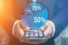 Blue survey graph interface with business theme going out a smar. View of Blue survey graph interface with business theme going out a smartphone - Technology Stock Images