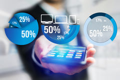 Blue survey graph interface with business theme going out a smar. View of Blue survey graph interface with business theme going out a smartphone - Technology Stock Image