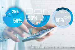 Blue survey graph interface with business theme going out a smar Stock Images