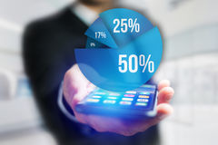 Blue survey graph interface with business theme going out a smar Stock Image