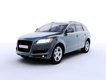 Blue suv. In perspective view Royalty Free Stock Images