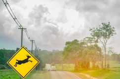 Blue SUV car of the tourist driving with caution during travel at asphalt road near yellow traffic sign with deer jumping inside. The sign Royalty Free Stock Photos