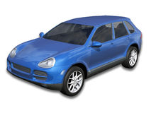 Blue SUV with Clipping Path Stock Photos