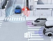 Blue SUV in one-way street detected vehicle in the blind spot. Connected car concept. 3D rendering image vector illustration