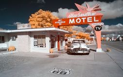 Free Blue Swallow Motel, Infrared. Route 66. Stock Photo - 146152030