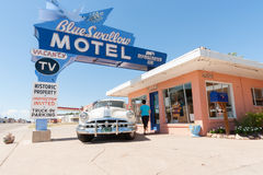 Blue Swallow Motel, Tucumcari, Route 66, New Mexico, USA. Royalty Free Stock Images