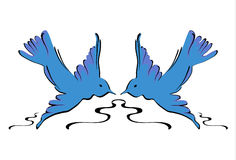 Blue Swallows - Vector Stock Images