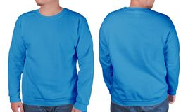 Blue sweater long sleeved shirt mockup template Royalty Free Stock Photography