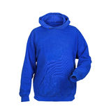 Blue sweatshirt with hood Royalty Free Stock Image