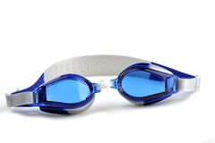 Blue swim goggles. Isolated on white Stock Photo