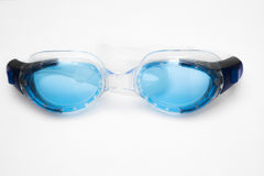 Blue swim goggles. Top view of blue swim goggles, isolated on white background Stock Image