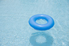 blue swim ring float on swimming pool isolated royalty free stock image