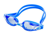 Blue swimming goggles. Isolated on white stock images