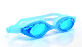 Blue swimming goggles white background Royalty Free Stock Photo