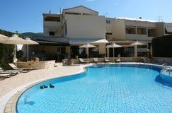 Blue swimming-pool in Greek hotel. Stock Image