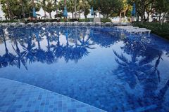 Blue swimming pool of resort in a daytime. Blue swimming pool of resort in a daytime and reflection of shadow coconut trees on the surface Royalty Free Stock Image