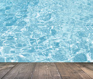 Blue swimming pool rippled water detail with wooden floor Stock Photo
