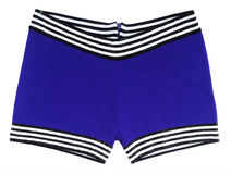 Blue swimming trunks. Isolated on white Royalty Free Stock Photography