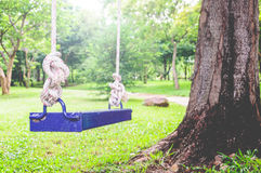 Blue Swing In The Garden Royalty Free Stock Photography