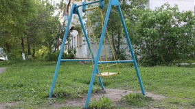 Blue swing swinging stock video footage