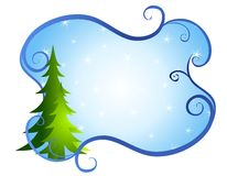 Blue Swirls Christmas Tree Background Stock Images
