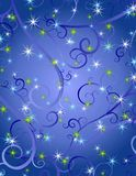 Blue Swirls Stars Christmas Background