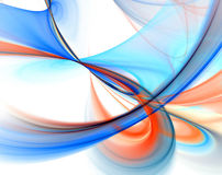 Blue swoop fractal over white stock illustration