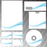 Blue swoosh concept stationery set Royalty Free Stock Images