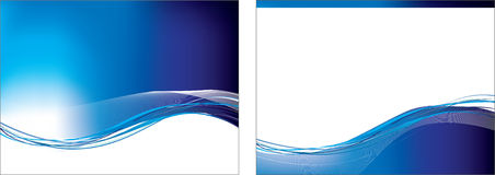 Blue swoosh set of 2 backgrounds Stock Images