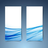 Blue swoosh wave and line abstract banner Royalty Free Stock Images
