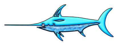 Blue Swordfish Drawing Royalty Free Stock Photos