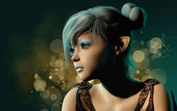 Blue Sylph Portrait, 3d CG Stock Images
